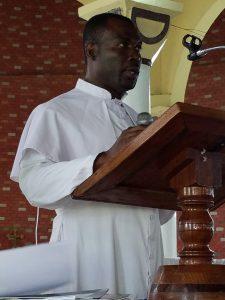 Sasse College Principal, Father Valentine Suum making opening remarks.
