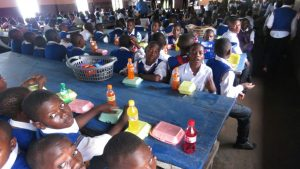Students enjoying their special meals and snacks after the awards ceremony