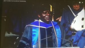 Prof Ngassa delivering 2017 Convocation Address at GVS University